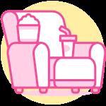 fauteuil de télévision rose